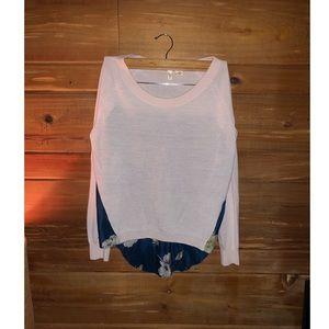 MOTH Anthropologie Wool & Floral Silk Sweater
